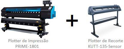 Impressora solvente de 1,80m + plotter de recorte de 1,35m